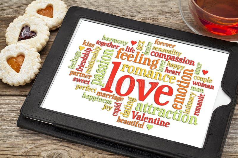 Förälskelse och romansordmoln royaltyfria foton