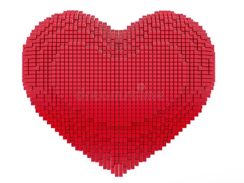 Förälskelse- och valentindagbegrepp konsthjärta för PIXEL 3d stock illustrationer