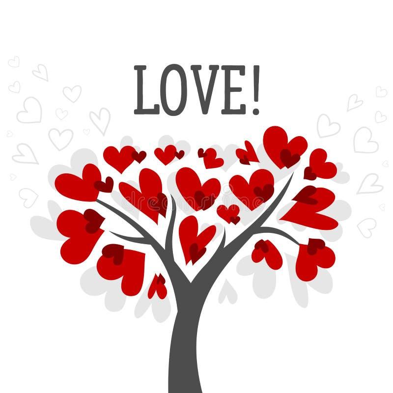 Förälskelse- och valentindagkort med förälskelseträdet och den röda affischen för hjärtavektorbakgrund royaltyfri illustrationer