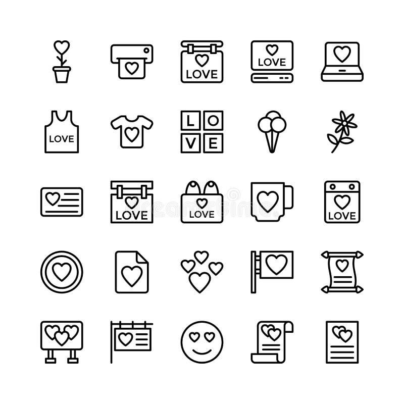 Förälskelse och Valentine Line Vector Icons 16 stock illustrationer