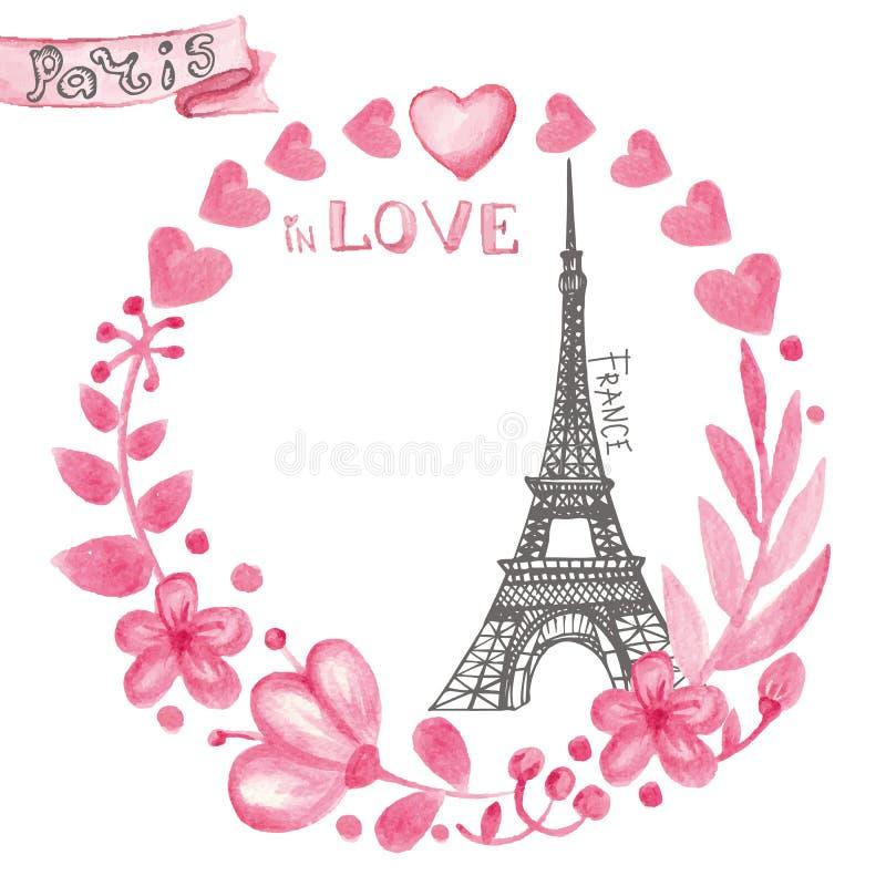 förälskelse paris Blom- rosa krans för vattenfärg, Eiffeltorn royaltyfri illustrationer