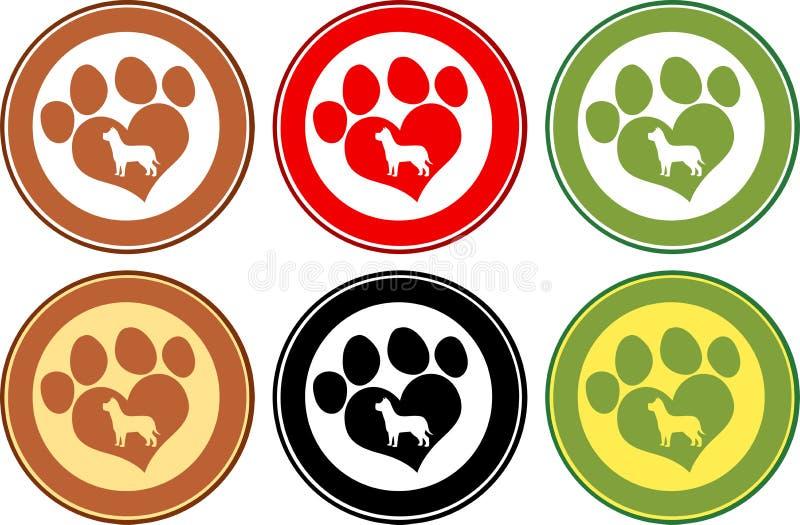 Förälskelse Paw Print Circle Banners Isolerat på white vektor illustrationer