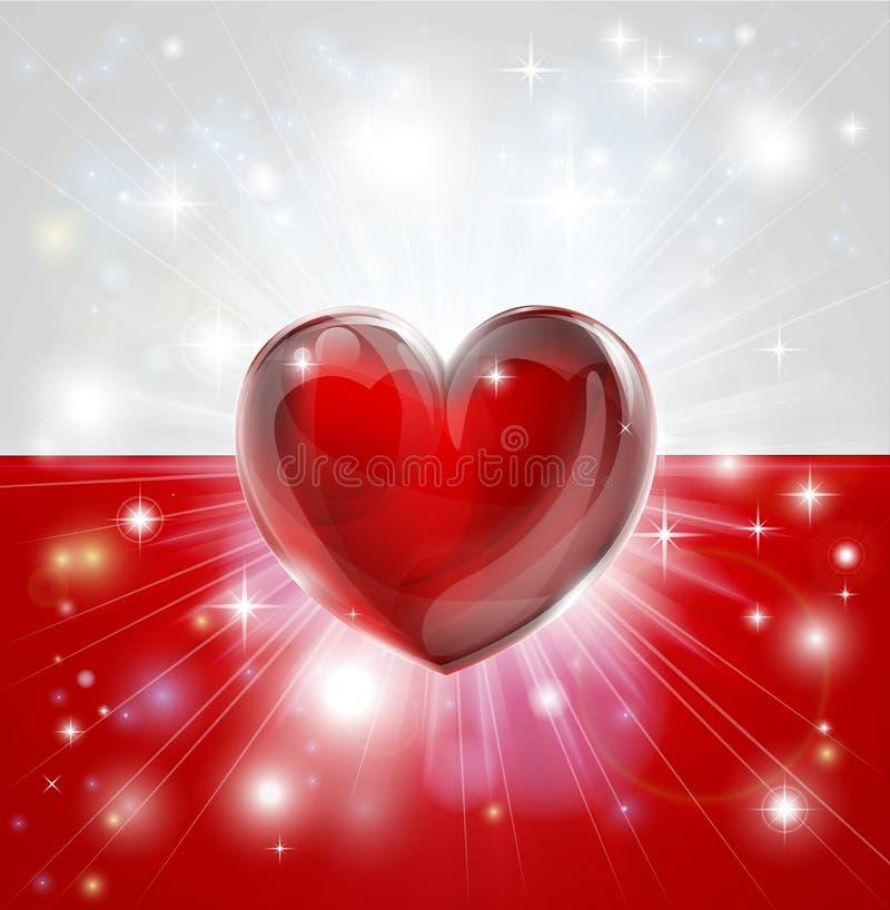 Förälskelse Polen sjunker hjärtabakgrund stock illustrationer