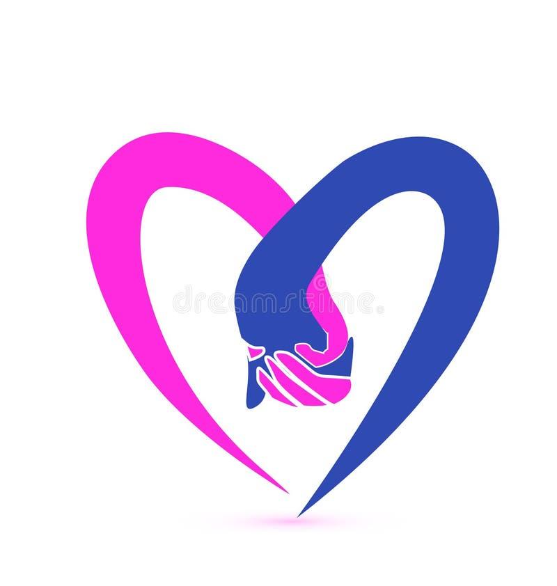 Förälskelse räcker logo royaltyfri illustrationer