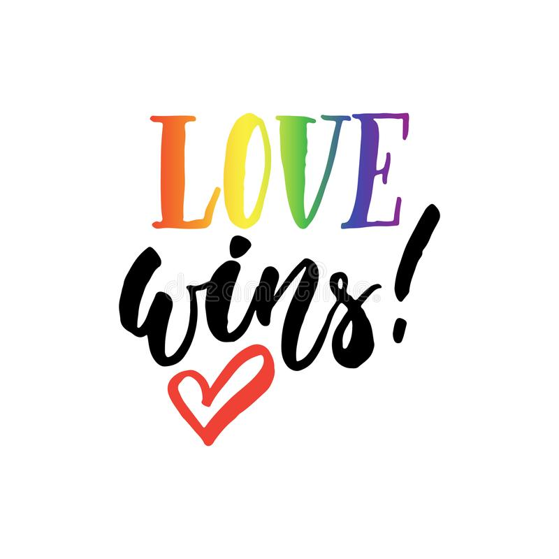 Förälskelse segrar - citationstecken för bokstäver för LGBT-slogan handen dragit med hjärta på den vita bakgrunden Roligt borstef stock illustrationer