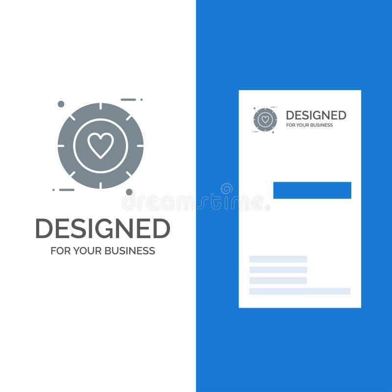 Förälskelse, signal, valentin, bröllop Grey Logo Design och mall för affärskort royaltyfri illustrationer