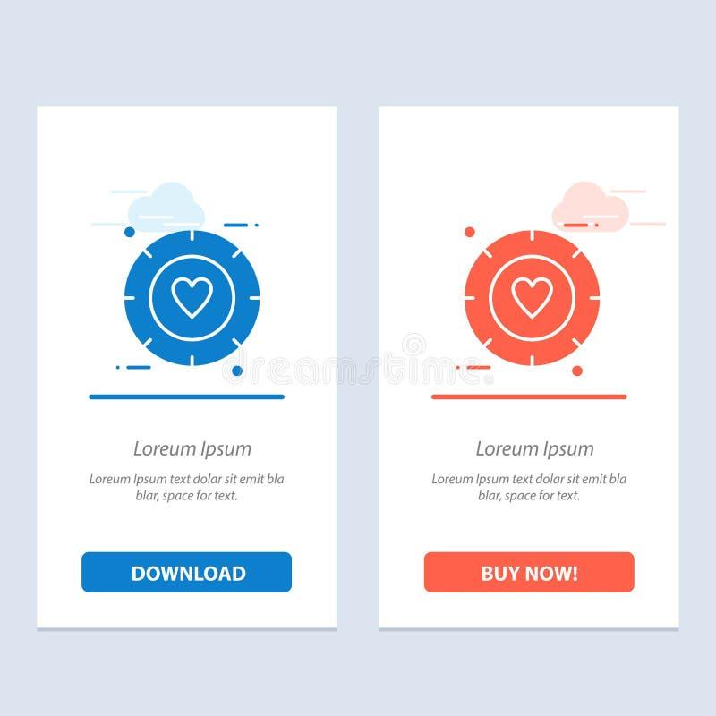 Förälskelse, signal, valentin, bröllopblått och röd nedladdning och att köpa nu mallen för rengöringsdukmanickkort vektor illustrationer
