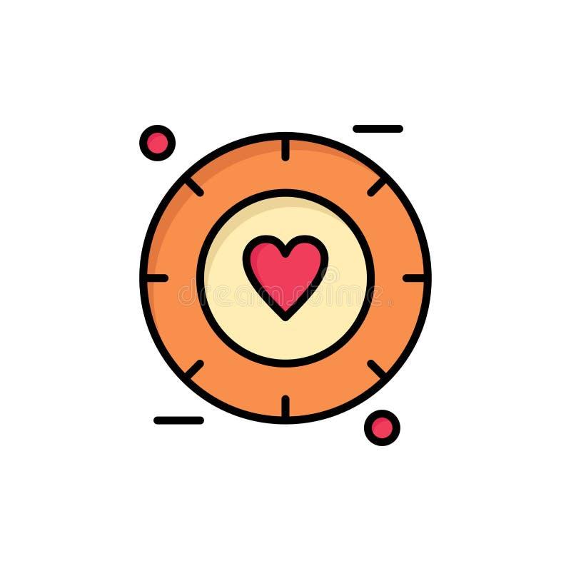 Förälskelse signal, valentin som gifta sig den plana färgsymbolen Mall för vektorsymbolsbaner stock illustrationer