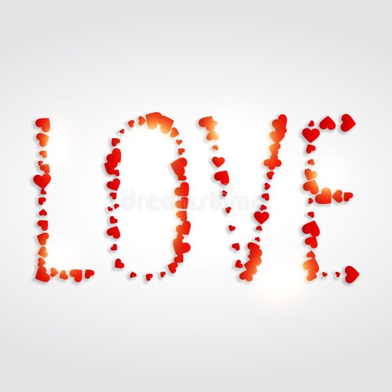 Förälskelse som är skriftlig med illustrationen för hjärtavektordesign royaltyfri illustrationer