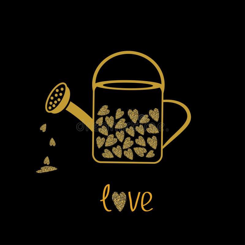 Förälskelse som bevattnar kan med hjärtor inom Guld mousserar blänker textursvartbakgrund royaltyfri illustrationer