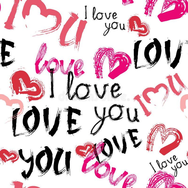 Förälskelse som du mönstrar med bakgrund för dagen för valentin för hjärtaGrunge sömlös stock illustrationer