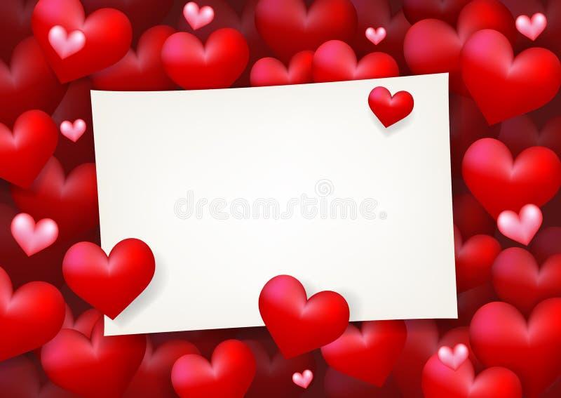 Förälskelse som gifta sig det tomma pappers- kortet för anmärkning som omges, genom att sväva röd hjärta stock illustrationer