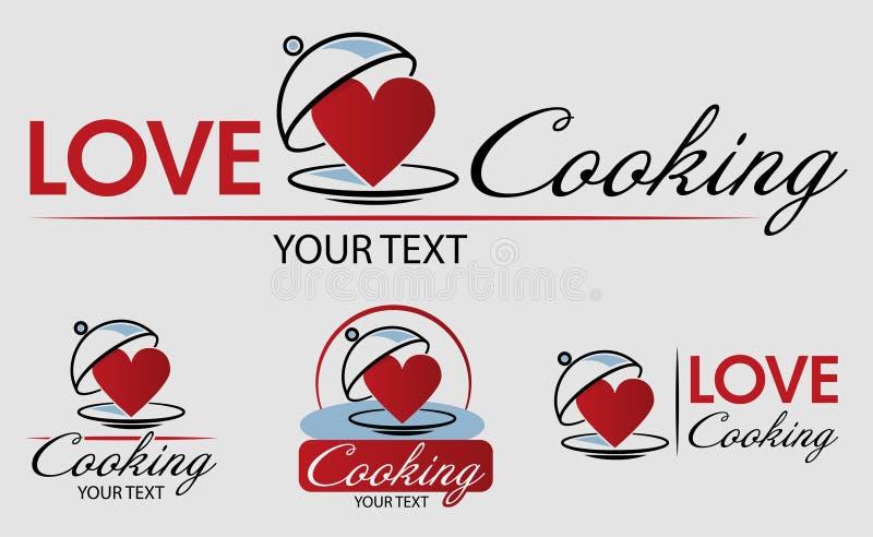 Förälskelse som lagar mat Logo Template Bon Appetit Hand tecknad vektorillustration Kan användas för emblem, etiketter, logoen, b stock illustrationer