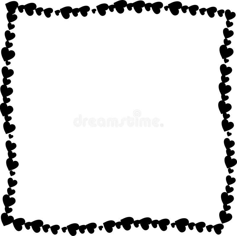 Förälskelse vred ramen som gjordes av isolerade svarta hjärtor på vit bakgrund vektor illustrationer