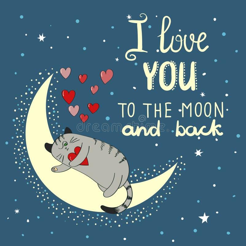 Förälskelsebakgrund med den gulliga katten och månen stock illustrationer