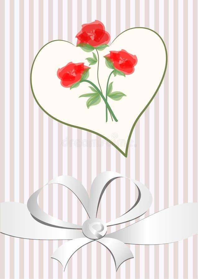 Förälskelsebakgrund med hjärtaform, buketten för röda rosor och vitbandet Bröllopmeddelande, valentindagkort Rosa färger, vit och vektor illustrationer