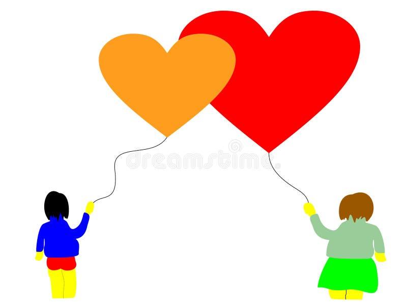 Förälskelseballonghjärtor royaltyfri fotografi