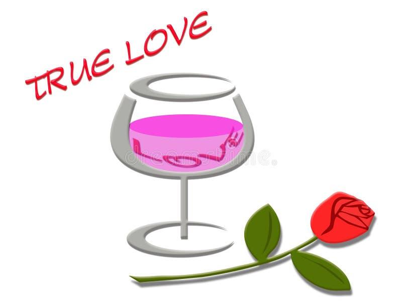 Förälskelsebegrepp med förälskelseord i vinexponeringsglas och rosa bakgrund vektor illustrationer