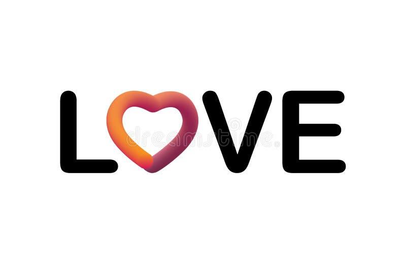 Förälskelsecitationstecken Modern vätskebokstäver Färgrik slät lutningrengöringsduksymbol Den eleganta designen för valentin seme royaltyfri illustrationer