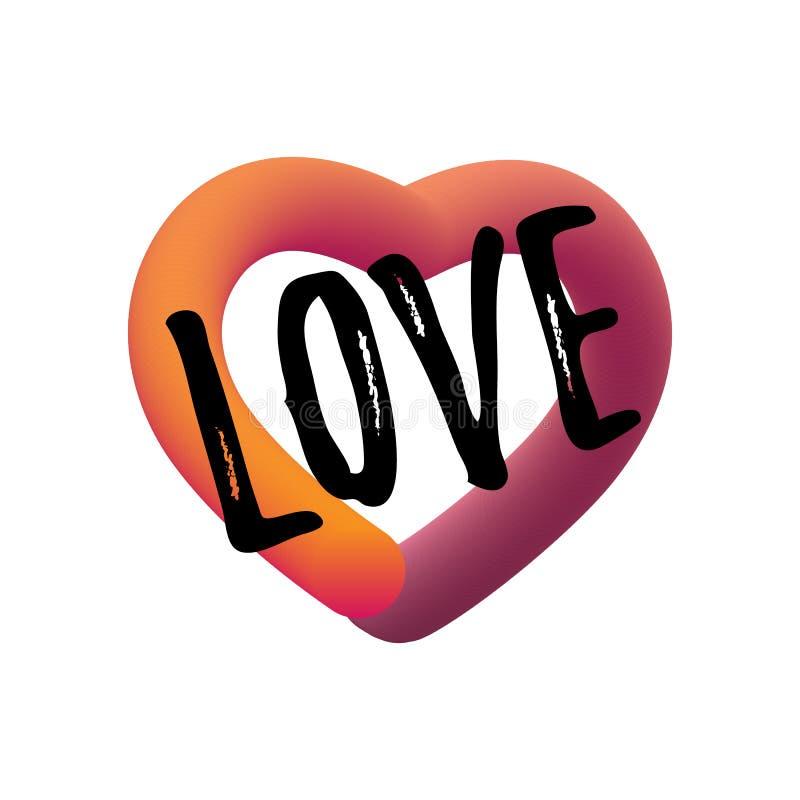 Förälskelsecitationstecken Modern vätskebokstäver Färgrik slät lutningrengöringsduksymbol Den eleganta designen för valentin seme stock illustrationer