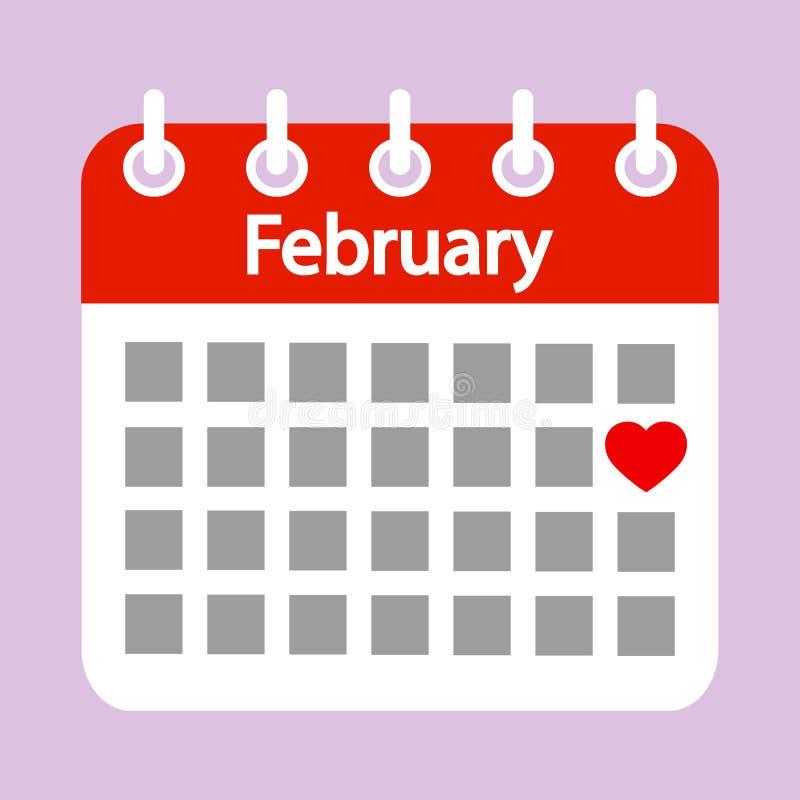 Förälskelsedag i form av en hjärta på en röd kalender vektor illustrationer