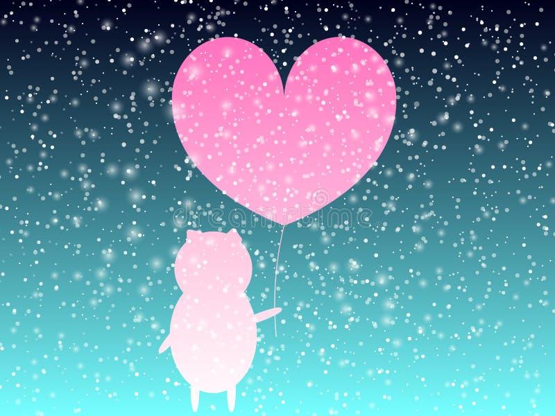 Förälskelsedagbakgrund Litet piggy för Ð-¡ ute Rosa hjärta Hjärta för två rosa färg 10 eps royaltyfri illustrationer