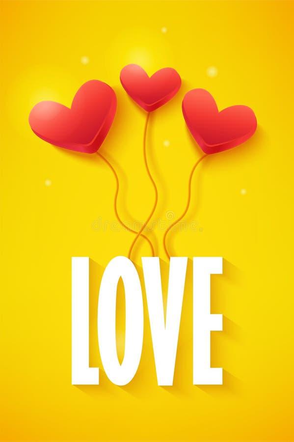 Förälskelsedagbanret med volymhjärta sväller på gul bakgrund randig vektor för bakgrundskortprelambulator vektor illustrationer