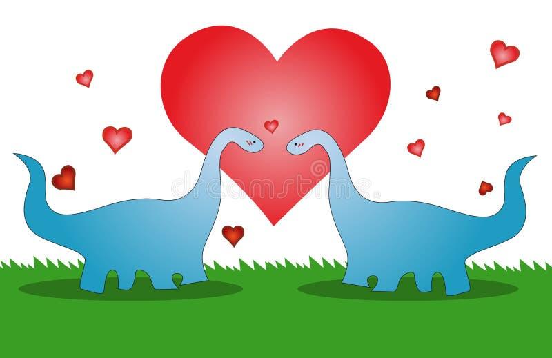 Förälskelsedinosaur, valentin kort vektor illustrationer