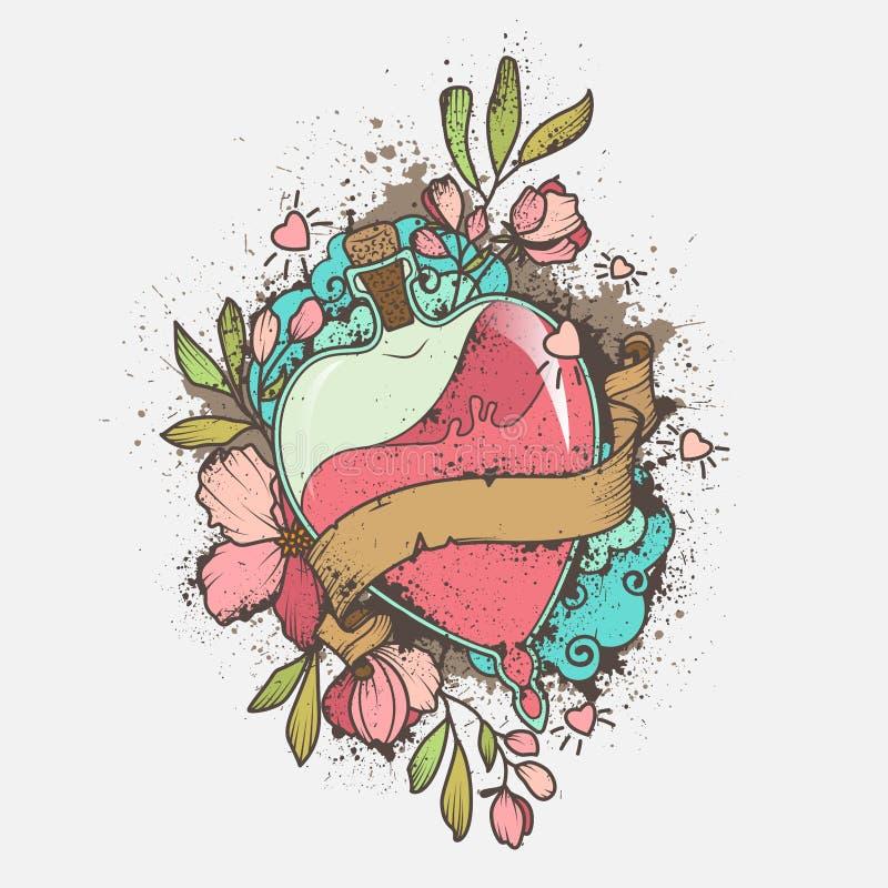Förälskelsedryck eller flaska som sparas med rosa kulör flytande som dekoreras med blommor, sidor och med bandet för text Utdrage royaltyfri illustrationer