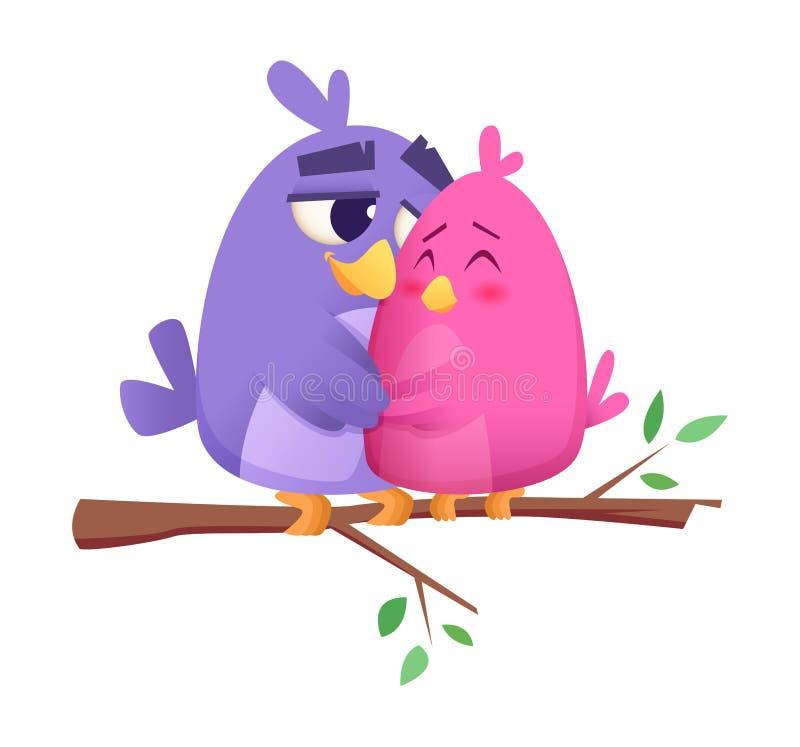Förälskelsefågelpar Gulliga fåglar för man som och för djurhonor sitter på bakgrund för begrepp för vektor för filialst-valentin royaltyfri illustrationer