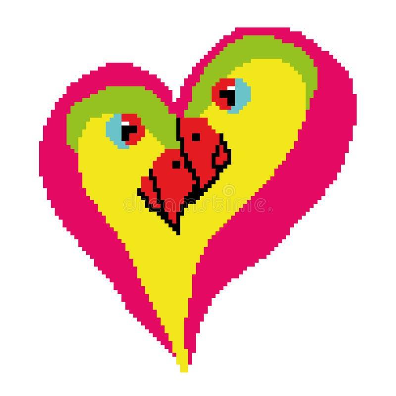 Förälskelsefåglar i formen av en hjärta som dras av fyrkanter, PIXEL Dag för ` s för valentin för hälsningkort lycklig också vekt stock illustrationer