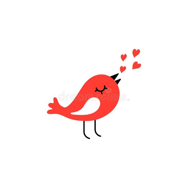 Förälskelsefåglar med röda hjärtor - kort för valentin dag också vektor för coreldrawillustration stock illustrationer