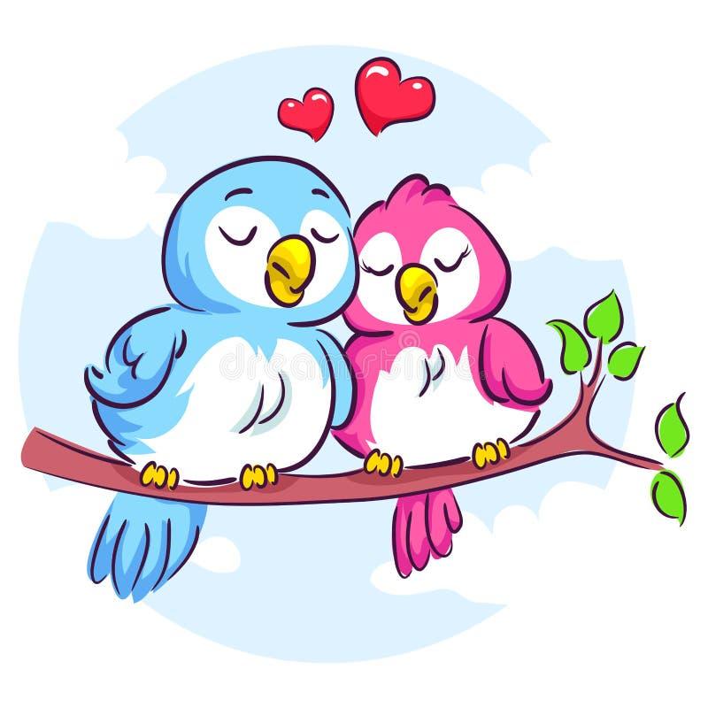 Förälskelsefåglar på filialen royaltyfri illustrationer