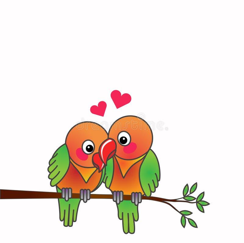 Förälskelsefåglar som är förälskade på vit bakgrund för isolat stock illustrationer