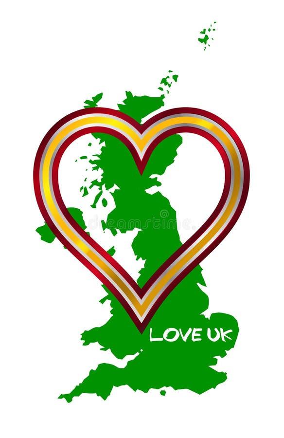 FörälskelseFörenade kungariket översikt och hjärta vektor illustrationer