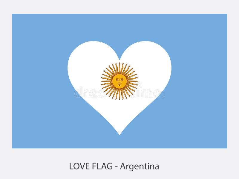 Förälskelseflagga Argentina med solen stock illustrationer