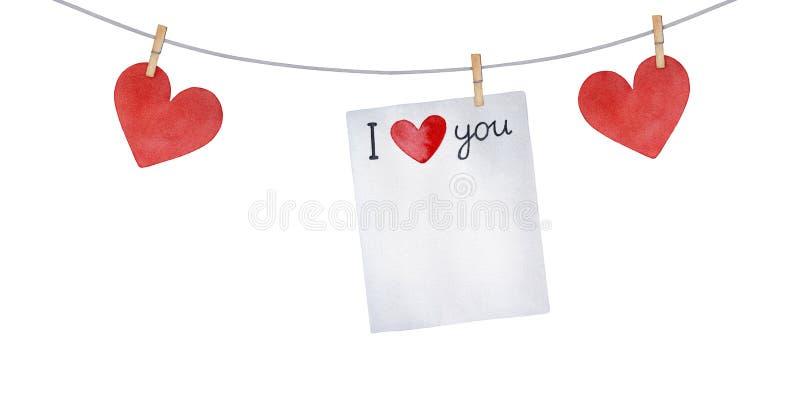 Förälskelsegirland med hjärtor, klädnypor och pappersanmärkningen med engelska ord: 'Älskar jag dig ', stock illustrationer