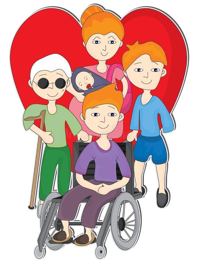 Förälskelsehandikappfolk stock illustrationer