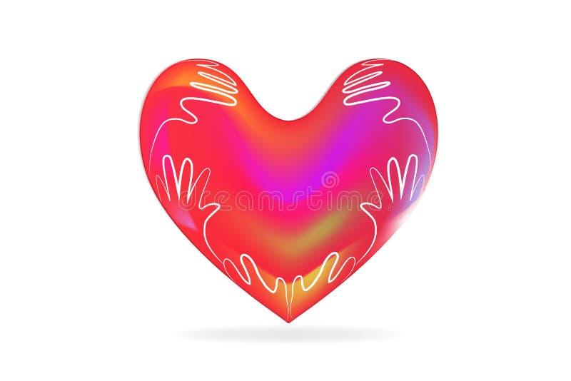 Förälskelsehjärta och bild för vektor för barnhandlogo stock illustrationer