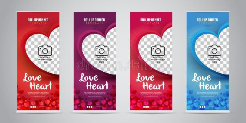 Förälskelsehjärtaaffären rullar upp banret med 4 röda variant- färger, purpurfärgat, rosa/magentafärgat, blått också vektor för c vektor illustrationer