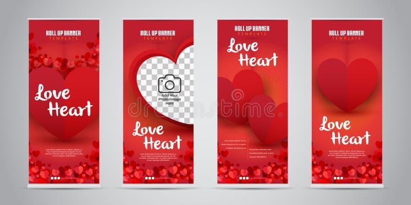 Förälskelsehjärtaaffären rullar upp banret med vektorillustrationen för 4 den variant- designer vektor illustrationer