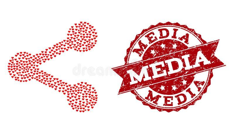 Förälskelsehjärtamosaik av aktiesymbolen och Grungestämpeln vektor illustrationer