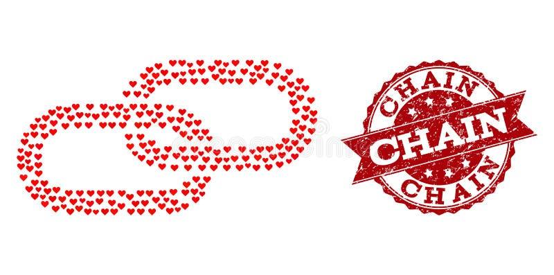 Förälskelsehjärtamosaik av kedjesymbolen och Grungevattenstämpeln royaltyfri illustrationer