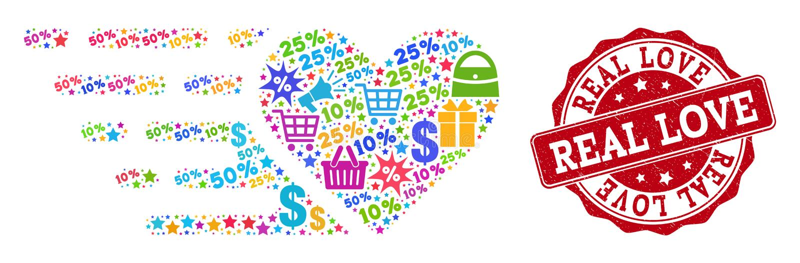 Förälskelsehjärtasammansättning av den mosaiska och texturerade stämpeln för försäljningar vektor illustrationer