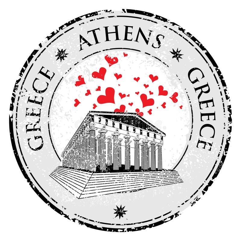 Förälskelsehjärtastämpel med parthenonen från Grekland och den kända Grekland som är skriftlig inom stämpeln stock illustrationer