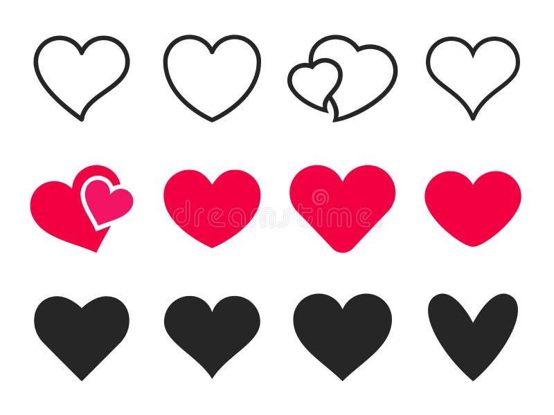 Förälskelsehjärtasymbol Älska hjärtor som är röda som, och den älskvärda romanska uppsättningen för översiktsvektorsymboler royaltyfri illustrationer