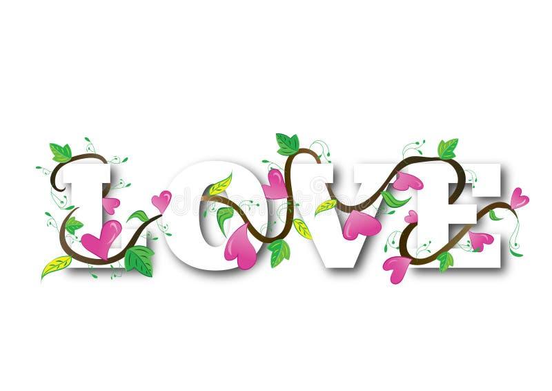 Förälskelsehjärtatext royaltyfri illustrationer