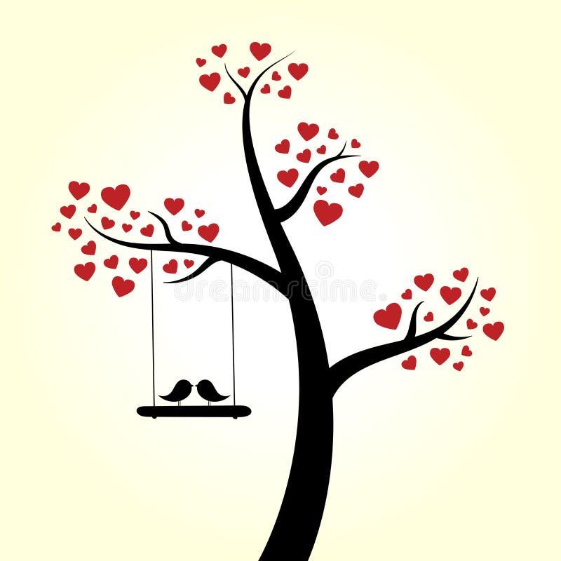 Förälskelsehjärtaträd stock illustrationer