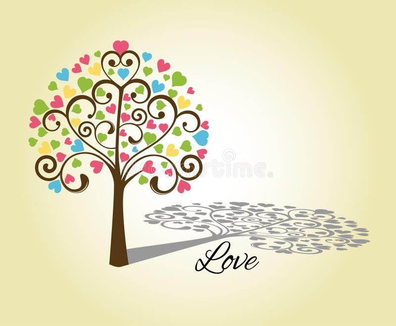 Förälskelsehjärtatree stock illustrationer