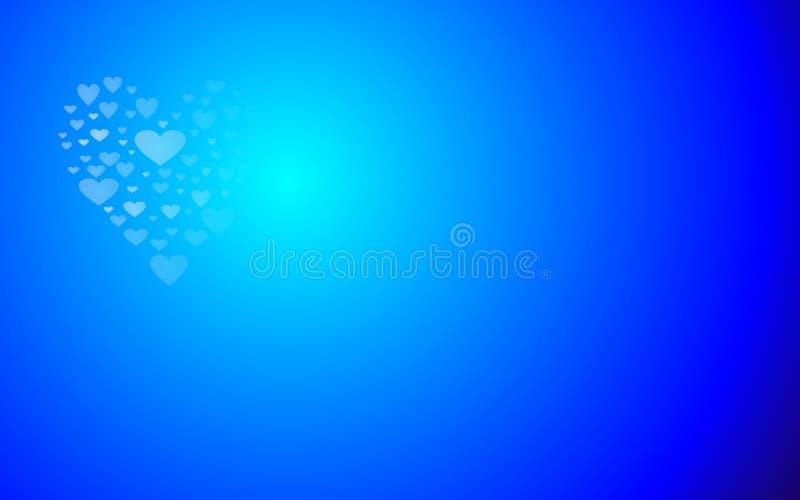 Förälskelsehjärtor formar den blåa ljusa valentindagtapeten royaltyfri illustrationer
